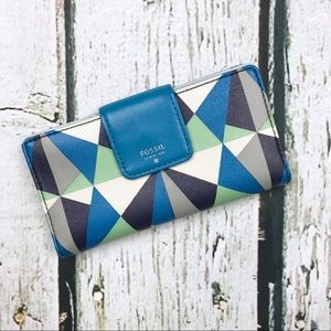 Fossil Blue Geometric Leather Wallet